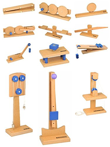 Eisco Labs Simple Machines, Complete Set of 12 - Inclined Plane, Gear Train Model, Pulley Model, Pendulum, Wedge, Gear Rack, Motion Converter, Fulcrum Balance, Simple Lever, Wheel & Axle Model, Screw, Block & Tackle