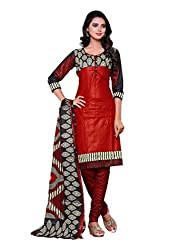 SayShopp Fashion Women's Unstitched Regular Wear Cotton Printed Salwar Suit Dress Material (ZDM-09_Red,Black_Free Size)