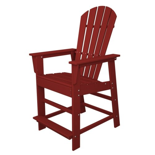 Polywood Outdoor Furniture South Beach Counter Chair Sunset Red Recycled Plastic Materials