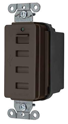 Bryant Usbb4 Charger 4 Port Outlet, Four Usb Type 2.0 Ports, 5 Amp, 5 Volt Dc, Decorator Style, Brown