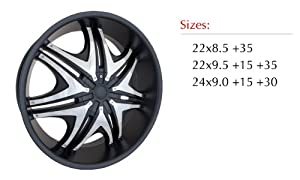 Sik 004 22×8.5 Matte Black Wheel with Chrome Inserts 5×112 & 5×114.3 Bolt Pattern / +35mm Offset / 73.1mm Hub Bore