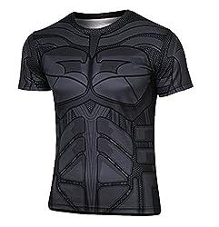 Madhero Men's Marvel Comic Hero Avengers COSPLAY Short Sleeve T-shirts (S, Black Bat Man)
