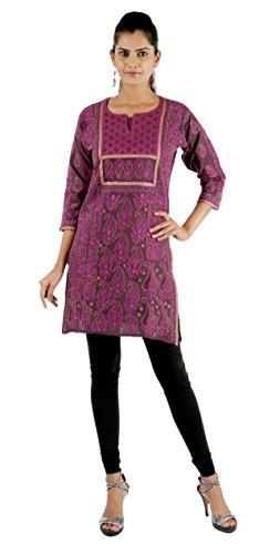 Indiankala4u Women's Lucknowi Chikankari/Chikan Hand Embroidery Cotton ladies Kurtis/Kurta