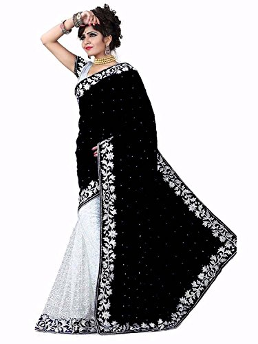 Edeal sarees black and white Velvet Saree