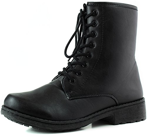 Women'S Ankle Booties Military Inspiring Combat Lace Up Boot Black Color, 5.5,5.5 B(M) Us