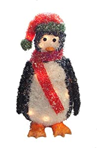 "23"" Lighted Sparkling Tinsel and Sisal Penguin Christmas Yard Art Decoration"