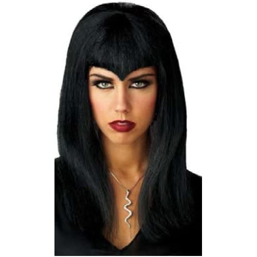 Long Black Halloween Vampire Wig With Pointed Fringe