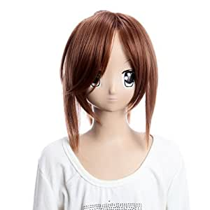 SureWells Hair wig Dynasty Warriors 6 Ling Tong Brown Ponyutail Cosplay Wigs Party Wigs Costume Wigs