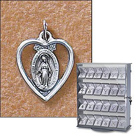 Sterling Silver St. Mary Mother of God Miraculous Medal (Pendant-Charm) Small Heart with Oval Design, Patron Saint with 18