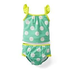 Carter\'s Baby Girls\' UPF +50 2-piece Tankini Swimsuit Polka Dots- Green- 12 Months
