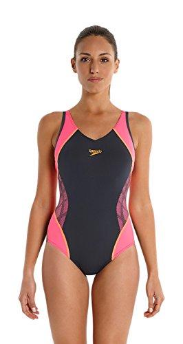 Speedo Spdfit Spl Msbk Af - Costume da bagno da donna, colore Grigio Ossido/Rosa Fluo/Arancio Fluo, taglia IT 46