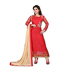 shreepati sarees Red Georgette Embroidered Work Party Wear Salwar Suit With Dupatta Set