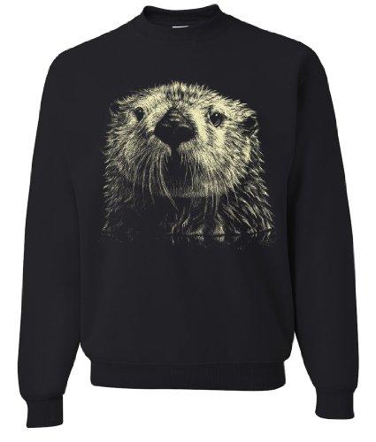Giant Otter Face Crewneck Sweatshirt By Dsc - Black Large front-322293
