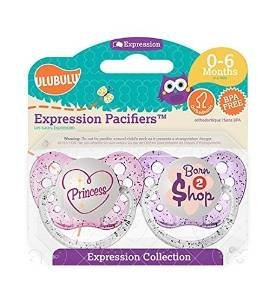 UlubuluExpression Pacifier 2 pack -- Princess and Born To Shop - 1