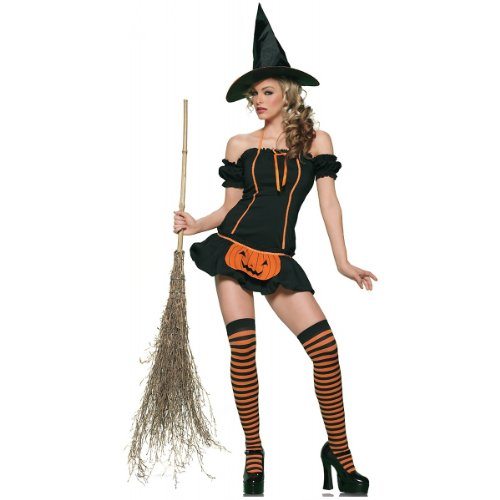Sexy Adult Halloween Costume Pumpkin Witch (XL, Black)