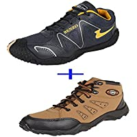 Bersache COMBO Pack Of 2 Pair Men/Boy Black & Brown Sports Shoes (Running Shoes)
