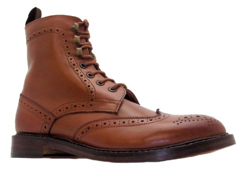 Size 11 Paolo Vandini Mens Px-guard Tan Leather Wingtip Lace Up Brogue Style Boots