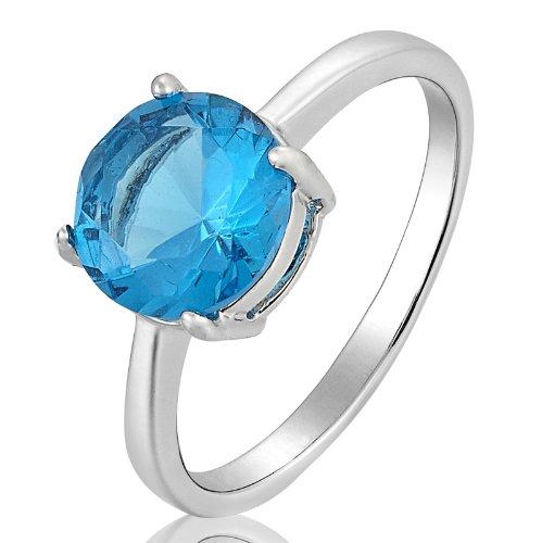 Rizilia Engagement Fashion Jewelry Round Cut 18K Gold Plated Aquamarine Ladies Ring 7