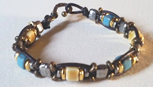 womens-sectioned-single-wrap-leather-beaded-bracelet-in-dark-brown-agua-fresca-and-honey