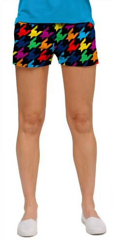 Loudmouth Golf Ladies Mini Shorts: Razzle Dazzle Black - Size 4 by Loudmouth Golf