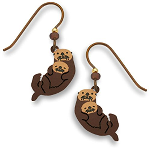 Brown Sea Otter with Cub Earrings