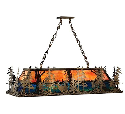 Meyda Tiffany Deer At Dusk Oblong Nine-Light Pendant