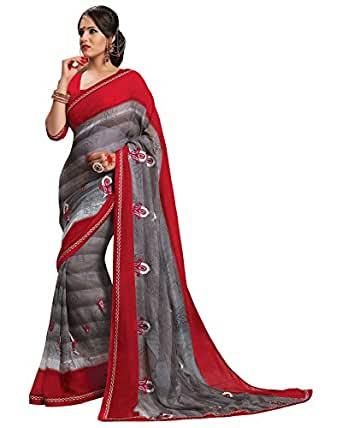 Prafful Grey Georgette embroidered beautiful saree with unstitched blouse available at Amazon for Rs.999
