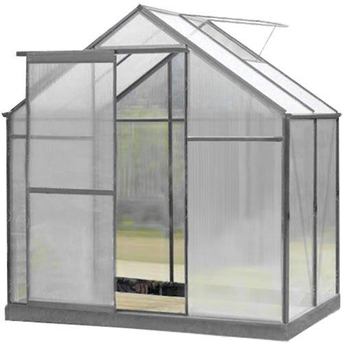 6x4 Greenhouse Aluminium & PolyCarbonate + Free Base Silver Frame