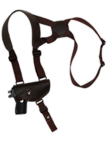 Barsony Brown Leather Cross Harness Shoulder Holster for Small Ultra-Compact 9mm 40 45 Pistols. from Barsony Holsters and Belts