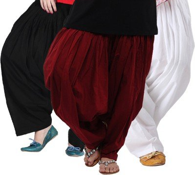 Bottomline-Womens-Cotton-Patiala-Salwar-Combo-Black-Maroon-and-WhiteFree-Size