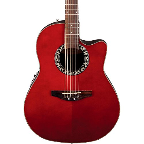 Applause By Ovation Ab24-Rr Balladeer Mid Depth Bowl Acoustic-Electric Guitar, Ruby Red
