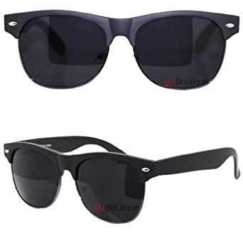 Amazon.com: Black Half Frame Wayfarer Sunglasses Black ...
