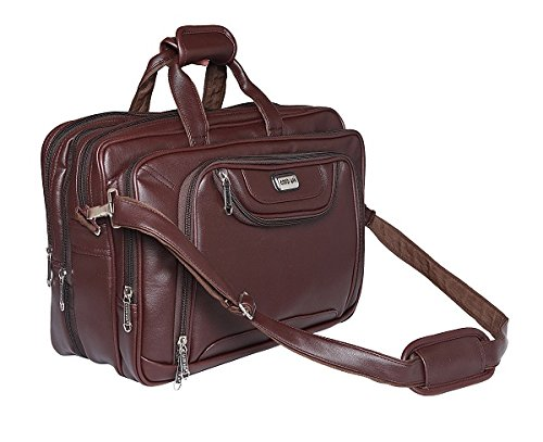Office Bag or Laptop Bag For Men s 18  Inch Brown expandable Leather ... d8fe02f28560a
