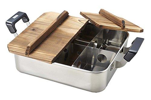 だんらん ステンレス製 木蓋 付 角型 おでん鍋 28×24cm 仕切板付 H-4827