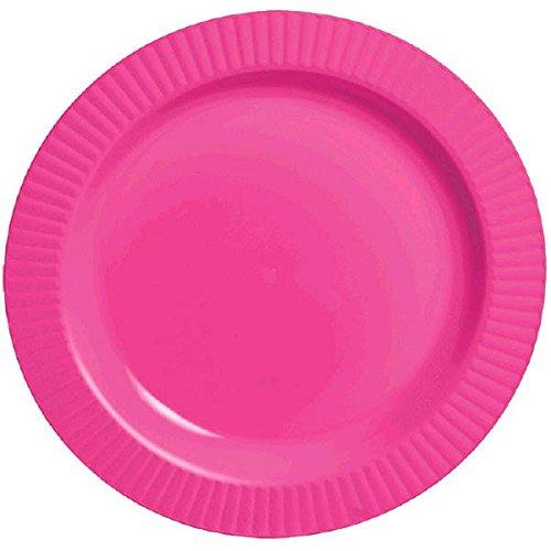 """Amscan Round Premium Plastic Plates, 7 1/2"""", Bright Pink"""