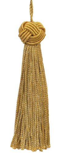 Cheapest Price! Set of 10 Antique Gold Woven Head Chainette Tassel, 4 Inch Long with 3 Inch Loop, Ba...