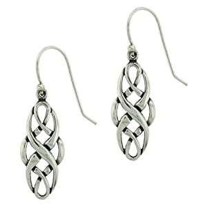 sterling silver celtic design oval dangle earrings