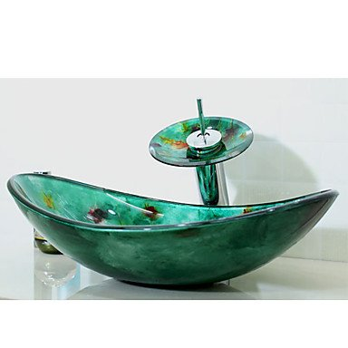 QUEEN'S HOME Multicolour Boat-shaped Tempered Glass Vessel Sink with Waterfall Faucet Pop - Up Drain and Mounting Ring