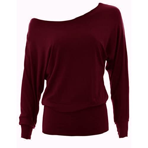 Ladies Womens New Off the Shoulder Batwing Long Sleeve Jersey Plain Top in UK 6-22 All Colours