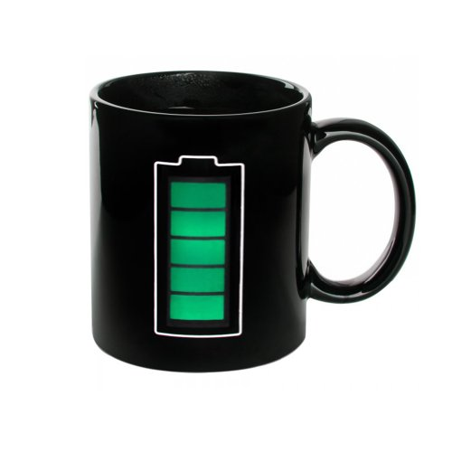 Coffee Mug With Thermo Indicator Green Battery