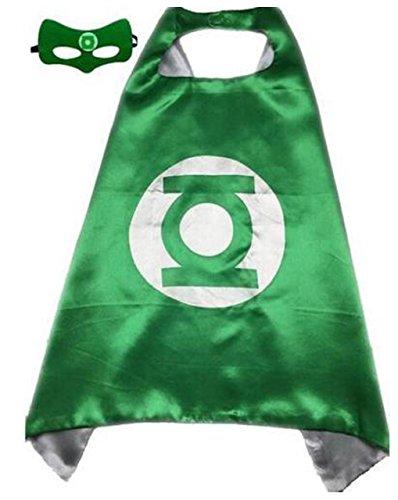 Kids Cape & Mask Superhero Boy Girl Party Costume Set Superman Batman Spiderman Green Lantern Cape+Mask (Green Lantern Toddler Costume)