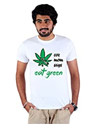Enquotism White Combed Cotton Fabric Round Neck Men Tshirt Eat Green Weed White
