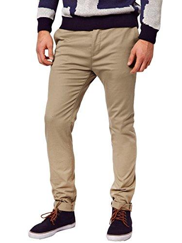 Italy Morn Uomo Uomini Chino pantaloni kaki misura sottile pantaloni in tessuto twill di cotone elasticizzato M Cachi