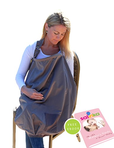 Salinka Breastfeeding Cover - Baby Nursing Scarf provides privacy while breastfeeding in public - Stylish design made from a luxurious 100% breathable material - 1