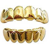 Hip Hop 14k Gold Plated Removeable Mouth Grillz Set (Top & Bottom) Player Style