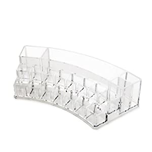 Cosmetic Make Up Clear Acrylic Curved Organiser with 19 Sections #106