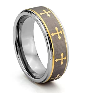 8MM Tungsten Carbide Mens Celtic Cross Wedding Band Ring Available Sizes 7 1