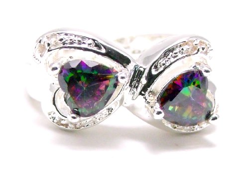 Two Heart Mystic Topaz & White Topaz Side Stone Accents Engagement Ring, Size 6