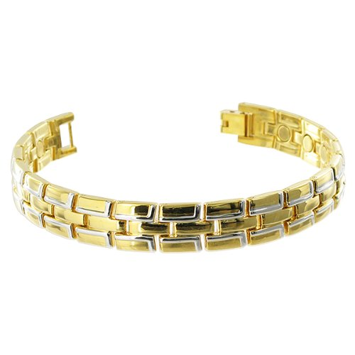 14mm Wide Gold Tone Alloy Link Mens Magnetic Bracelet 8