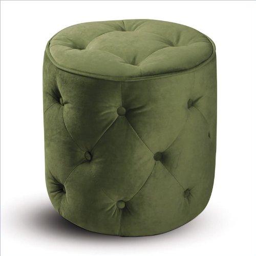 Curves Tufted Round Ottoman Spring Green Velvet - 1